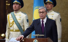The President of Kazakhstan takes the oath to Kazakhstan's nation